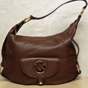 Michael Kors Fulton Brown Leather Hobo Bag